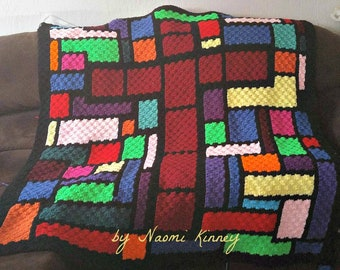 Stained Glass Cross Afghan, C2C Crochet Pattern, Written Row Counts, C2C Graphs, Corner to Corner Crochet Pattern, C2C Graph