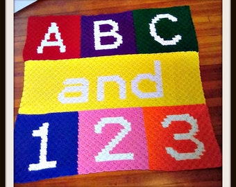 ABC and 123 Baby Afghan, C2C Crochet Pattern, Written Row Counts, C2C Graphs, Corner to Corner, Crochet Pattern, C2C Graph