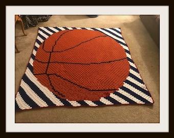 Basketball Stripes Afghan, C2C Crochet Pattern, Written Row Counts, C2C Graphs, Corner to Corner, Crochet Pattern, C2C Graph