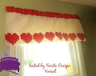 Heart Valance, C2C Crochet Pattern, Written Row Counts, C2C Graphs, Corner to Corner Crochet Pattern, C2C Graph