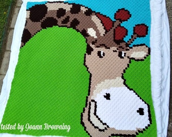 Giraffe Happy Blanket, C2C Crochet Pattern, Written Row Counts, C2C Graphs, Corner to Corner, Crochet Pattern, C2C Graph