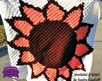 Sunflower Baby Blanket, C2C Crochet Pattern, Written Row Counts, C2C Graphs, Corner to Corner, Crochet Pattern, C2C Graph
