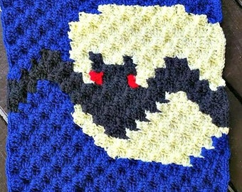 Bat Square, C2C Crochet Pattern, Written Row Counts, C2C Graphs, Corner to Corner, Crochet Pattern, C2C Graph