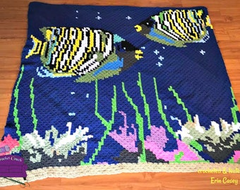 Fish in Aquarium Afghan, C2C Crochet Pattern, Written Row by Row, Color Counts, Instant Download, C2C Graph, C2C Pattern, C2C Graphgan