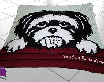 Shih Tzu, Black and White Afghan, C2C Crochet Pattern, Written Row by Row, Color Counts, Instant Download, C2C Graph, C2C Pattern, Graphgan