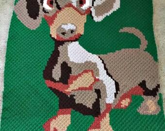 Dachshund Pup Blanket, C2C Crochet Pattern, Written Row Counts, C2C Graphs, Corner to Corner, Crochet Pattern, C2C Graph, Instant Download