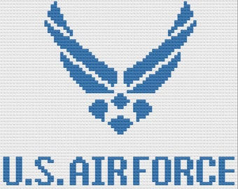 US Air Force Simple Afghan, C2C Crochet Pattern, Written Row by Row, Color Counts, Instant Download, C2C Graph, C2C Pattern, Graphgan