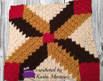 Carleen Quilt Square, C2C Crochet Pattern, Written Row Counts, C2C Graphs, Corner to Corner, Crochet Pattern, C2C Graph