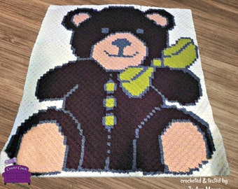 Teddy Bear Afghan, C2C Crochet Pattern, Written Row Counts, C2C Graphs, Corner to Corner, Crochet Pattern, C2C Graph