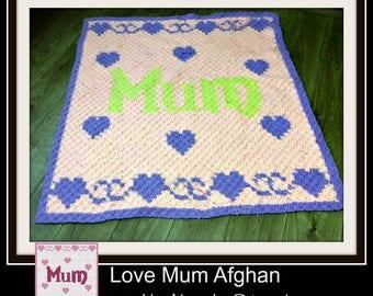 Mum Afghan, C2C Crochet Pattern, Written Row Counts, C2C Graphs, Corner to Corner, Crochet Pattern, C2C Graph