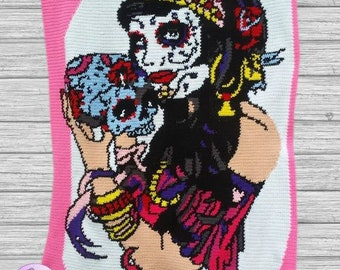 Sugar Skull Pin Up SC Graph Crochet Pattern, Written Row by Row Counts, Graphgan, Sugar Skull Pin Up Blanket, Graph Crochet