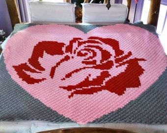 Rose in a Heart Blanket, C2C Crochet Pattern, Written Row Counts, C2C Graphs, Corner to Corner, Crochet Pattern, C2C Graph