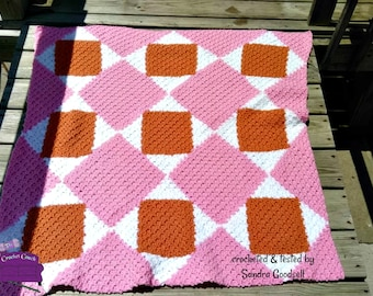 Sandra Quilt Afghan, C2C Crochet Pattern, Written Row by Row, Color Counts, Instant Download, C2C Graph, C2C Pattern, Graphgan Pattern