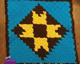 Becky Quilt Square, C2C Crochet Pattern, Written Row Counts, C2C Graphs, Corner to Corner, Crochet Pattern, C2C Graph