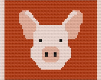 Pig Face Afghan, C2C Crochet Pattern, Written Row by Row, Color Counts, Instant Download, C2C Graph, C2C Pattern, Graphgan Pattern