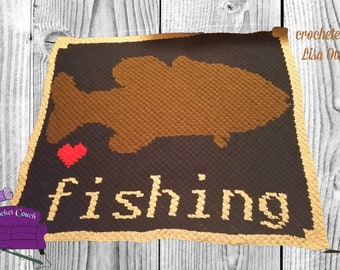 Love Fishing Afghan, C2C Crochet Pattern, Written Row Counts, C2C Graphs, Corner to Corner, Crochet Pattern, C2C Graph