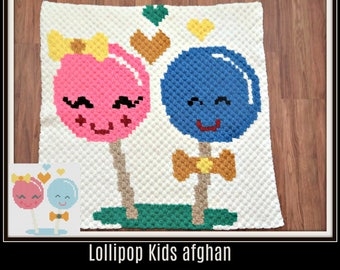 Lollipop Kids Afghan, C2C Crochet Pattern, Written Row Counts, C2C Graphs, Corner to Corner, Crochet Pattern, C2C Graph