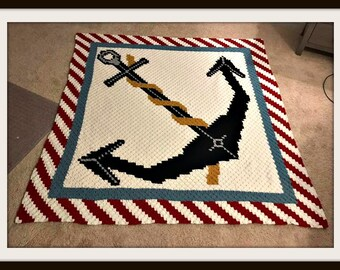 Anchor Queen Size Afghan C2C Crochet Pattern, Written Row by Row Counts, C2C Graphs, Corner to Corner Crochet Pattern, Graphgan, C2C Blanket