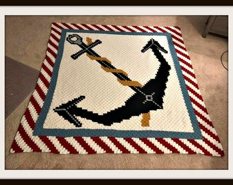Anchor Queen Size Afghan, C2C Crochet Pattern, Written Row Counts, C2C Graphs, Corner to Corner, Crochet Pattern, C2C Graph