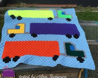 Semi Truck, Kids Afghan, C2C Crochet Pattern, Written Row by Row, Color Counts, Instant Download, C2C Graph, C2C Pattern, C2C Crochet