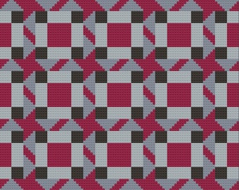 Melissa Quilt Afghan C2C Crochet Pattern, Written Row by Row Counts, C2C Graphs, Corner to Corner Crochet Pattern, Graphgan, Quilt C2C Graph