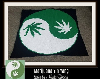Marijuana Yin Yang Afghan, C2C Crochet Pattern, Written Row Counts, C2C Graphs, Corner to Corner, Crochet Pattern, C2C Graph