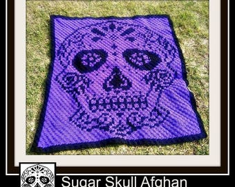 Sugar Skull Afghan, C2C Crochet Pattern, Written Row Counts, C2C Graphs, Corner to Corner, Crochet Pattern, C2C Graph