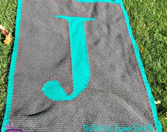 Letter J, Twin Afghan, C2C Crochet Pattern, Written Row by Row, Color Counts, Instant Download, C2C Graph, C2C Pattern, Graphgan Pattern