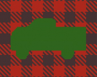 Truck Plaid Afghan, C2C Crochet Pattern, Written Row by Row, Color Counts, Instant Download, C2C Graph, C2C Pattern, Graphgan Pattern