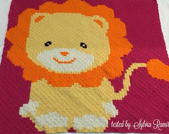 Lion Kids Blanket, C2C Crochet Pattern, Written Row Counts, C2C Graphs, Corner to Corner, Crochet Pattern, C2C Graph
