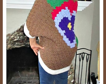 Pansy Shrug, C2C Crochet Pattern, Written Row Counts, C2C Graphs, Corner to Corner, Crochet Pattern, C2C Graph