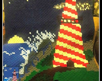 Lighthouse Afghan, C2C Crochet Pattern, Written Row Counts, C2C Graphs, Corner to Corner, Crochet Pattern, C2C Graph