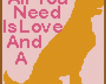 All You Need, is a Dog Afghan, C2C Crochet Pattern, Written Row by Row, Color Counts, Instant Download, C2C Graph, C2C Pattern