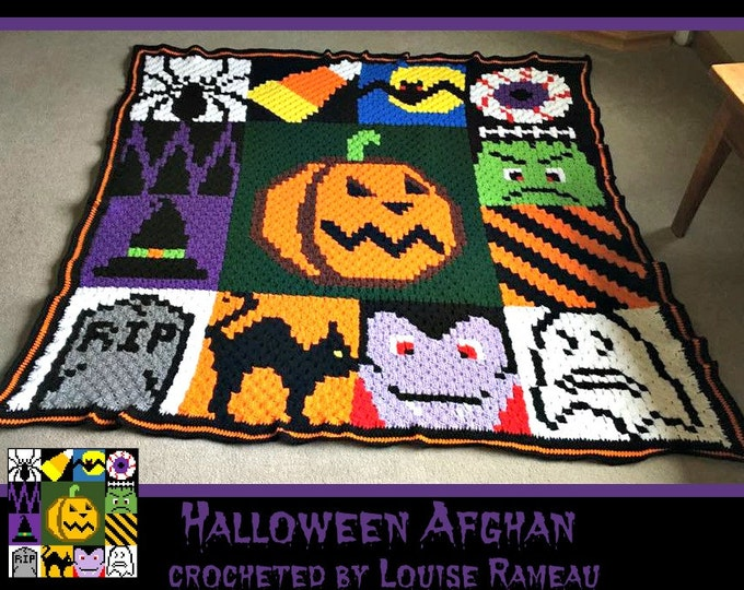 Featured listing image: C2C Graph, Halloween Afghan, C2C Graph, & Written Word Chart