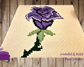 Single Rose Throw, C2C Crochet Pattern, Written Row Counts, C2C Graphs, Corner to Corner, Crochet Pattern, C2C Graph