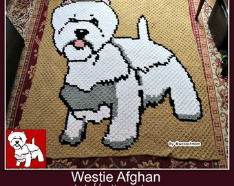Westie Afghan, C2C Crochet Pattern, Written Row Counts, C2C Graphs, Corner to Corner, Crochet Pattern, C2C Graph