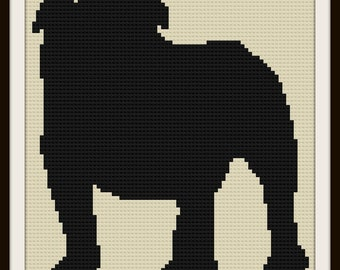 Bulldog Silhouette Afghan, C2C Crochet Pattern, Written Row Counts, C2C Graphs, Corner to Corner, Crochet Pattern, C2C Graph
