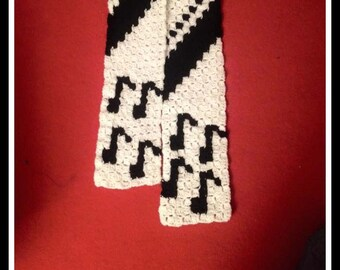 Musical Notes Scarf, C2C Crochet Pattern, Written Row Counts, C2C Graphs, Corner to Corner, Crochet Pattern, C2C Graph