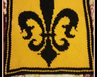 Fleur de lis Afghan, C2C Crochet Pattern, Written Row Counts, C2C Graphs, Corner to Corner, Crochet Pattern, C2C Graph