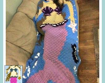 Mermaid Afghan Blanket w/Brown Hair, C2C Crochet Pattern, Written Row Counts, C2C Graphs, Corner to Corner, Crochet Pattern, C2C Graph