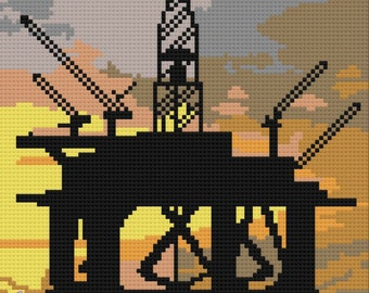 Drilling Rig at Sunset Afghan, C2C Crochet Pattern, Written Row Counts, C2C Graphs, Corner to Corner, Crochet Pattern, C2C Graph