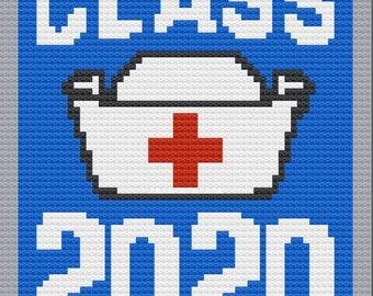 Class of 2020, Nurses Afghan, C2C Crochet Pattern, Written Row by Row, Color Counts, Instant Download, C2C Graph, C2C Pattern, C2C Crochet