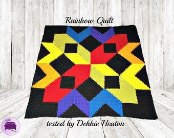 Rainbow Quilt Blanket, C2C Crochet Pattern, Written Row Counts, C2C Graphs, Corner to Corner, Crochet Pattern, C2C Graph