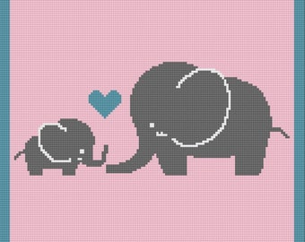 Elephant Mommy and Baby Afghan, SC Crochet Pattern, tss Crochet Pattern,  SC Graph, TSS Graph