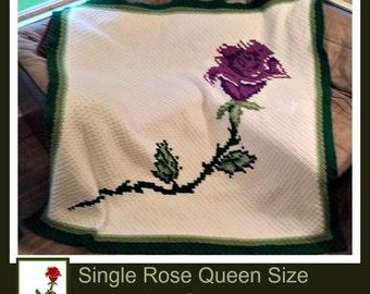 Single Rose QUEEN Size Blanket, C2C Crochet Pattern, Written Row Counts, C2C Graphs, Corner to Corner, Crochet Pattern, C2C Graph