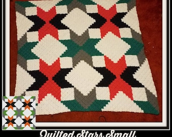 Quilted Stars Small with Green Afghan, C2C Crochet Pattern, Written Row Counts, C2C Graphs, Corner to Corner, Crochet Pattern, C2C Graph
