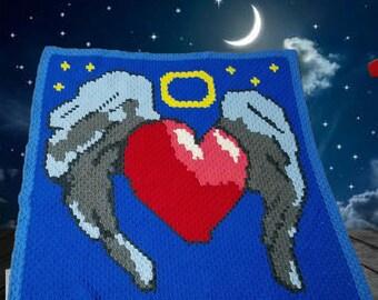 Heart Wings Afghan, C2C Crochet Pattern, Written Row Counts, C2C Graphs, Corner to Corner, Crochet Pattern, C2C Graph