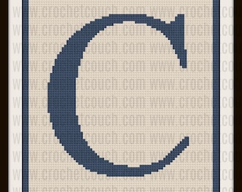 Letter C Twin Size, C2C Crochet Pattern, Written Row Counts, C2C Graphs, Corner to Corner, Crochet Pattern, C2C Graph
