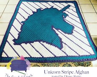 Unicorn Stripe Afghan, C2C Crochet Pattern, Written Row by Row, Color Counts, Instant Download, C2C Graph, C2C Pattern, C2C Crochet