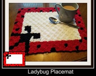Ladybug Placemat, C2C Crochet Pattern, Written Row Counts, C2C Graphs, Corner to Corner Crochet Pattern, C2C Graph